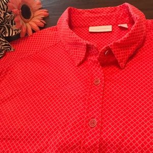New York & Co Red Print 3/4 Cuffed Button down XL